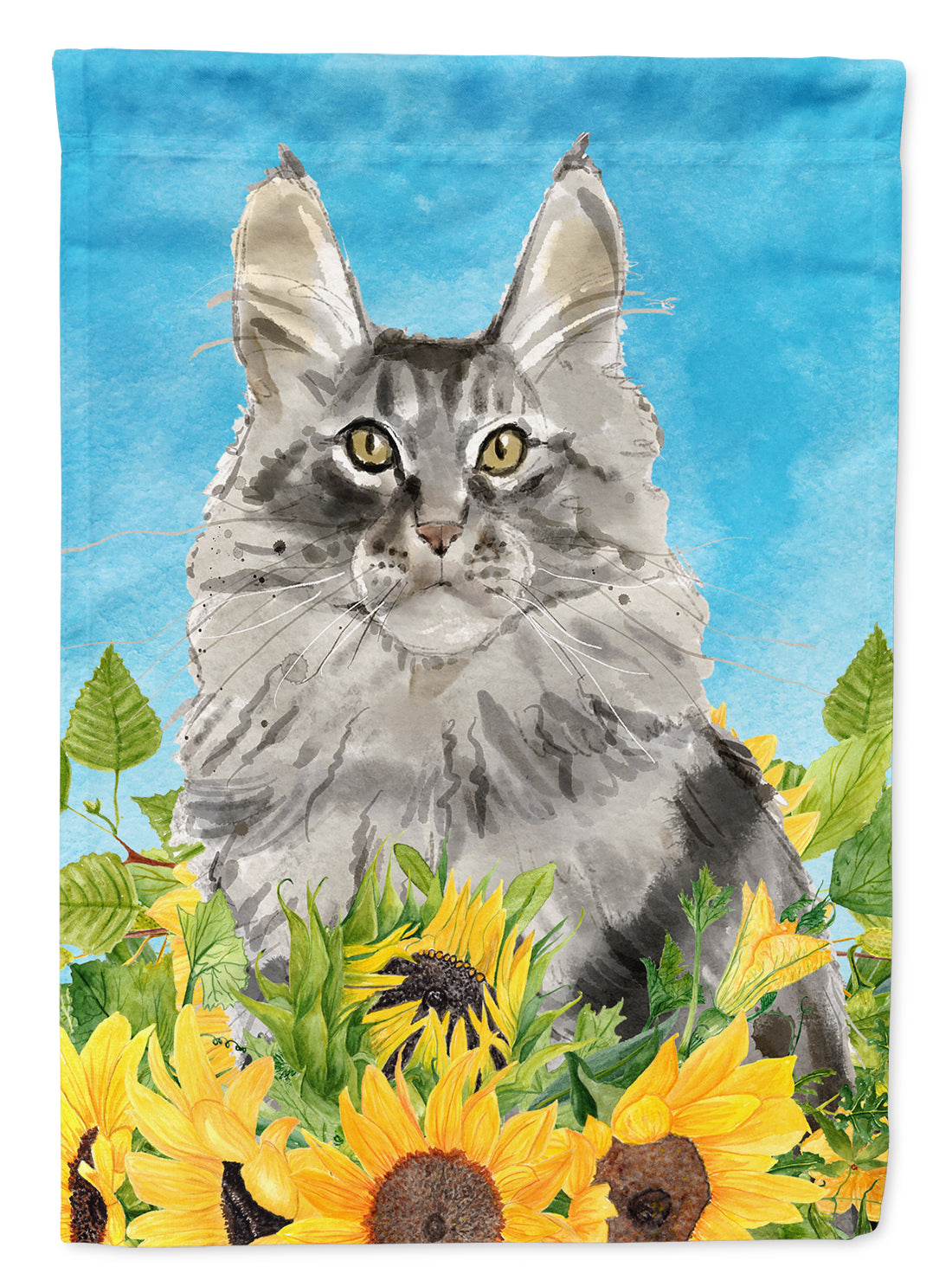 Maine Coon in Sunflowers Flag Garden Size CK3154GF by Caroline's Treasures