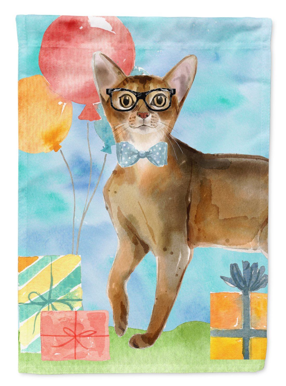 Buy this Abyssinian Happy Birthday Flag Garden Size CK3162GF