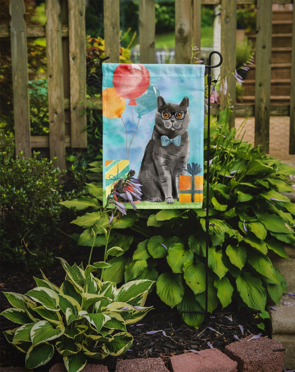British Shorthair Happy Birthday Flag Garden Size CK3168GF by Caroline's Treasures
