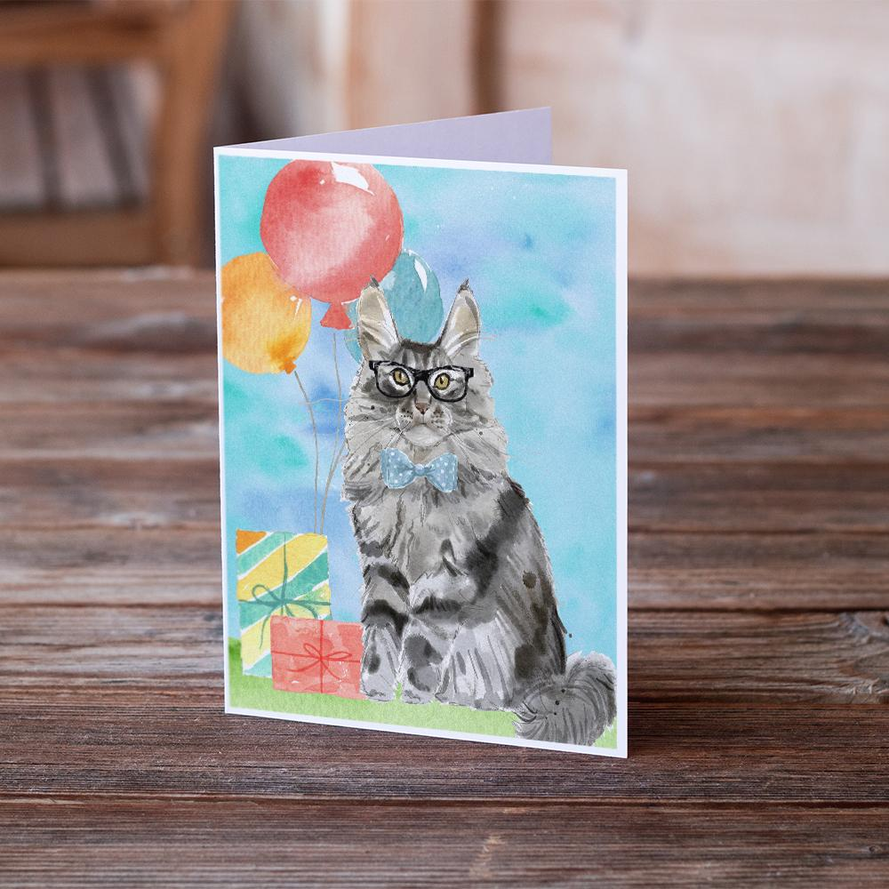 Buy this Maine Coon Happy Birthday Greeting Cards and Envelopes Pack of 8