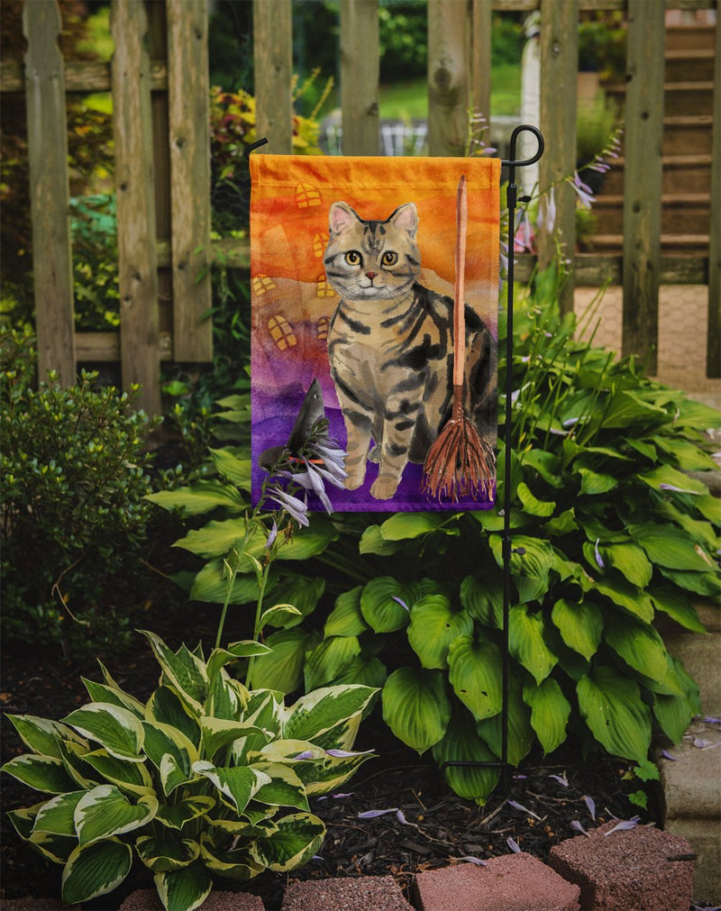 Buy this American Shorthair Brown Tabby Halloween Flag Garden Size CK3178GF