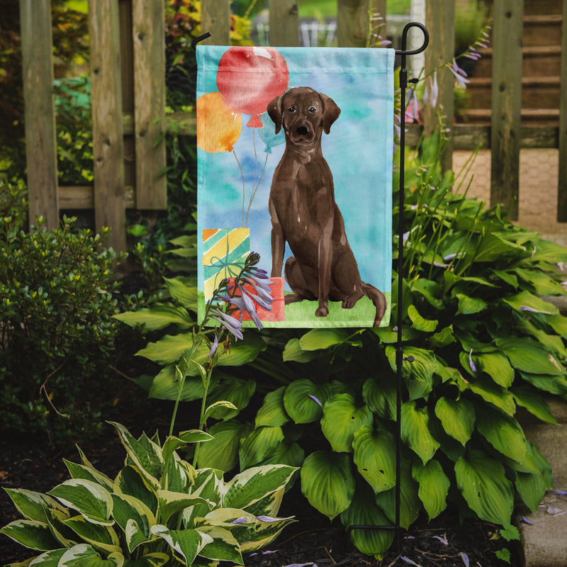 Buy this Happy Birthday Chocolate Labrador Retriever Flag Garden Size CK3234GF