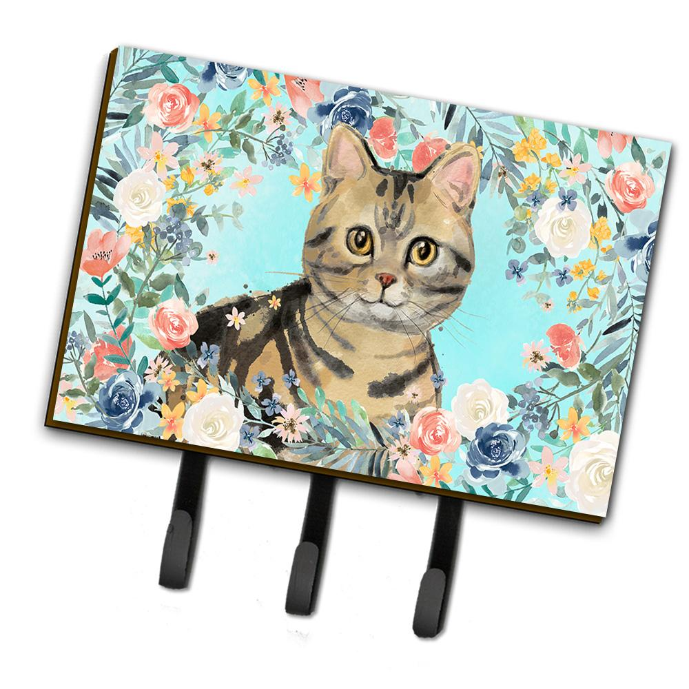 American Shorthair Brown Tabby Spring Flowers Leash or Key Holder CK3387TH68 by Caroline's Treasures