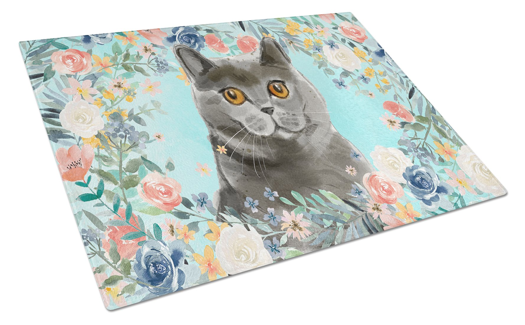 British Shorthair Spring Flowers Glass Cutting Board Large CK3392LCB by Caroline's Treasures