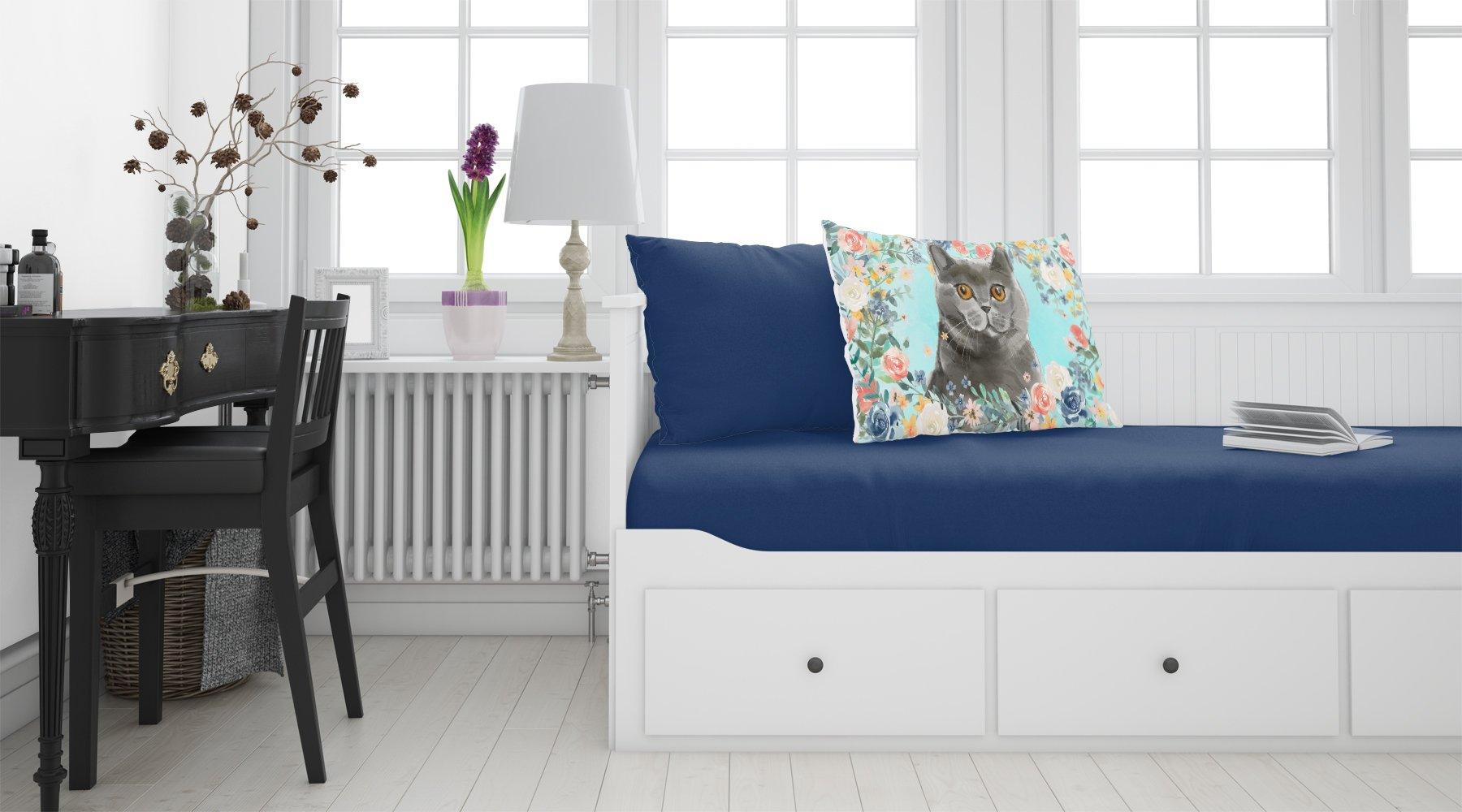 British Shorthair Spring Flowers Fabric Standard Pillowcase CK3392PILLOWCASE by Caroline's Treasures