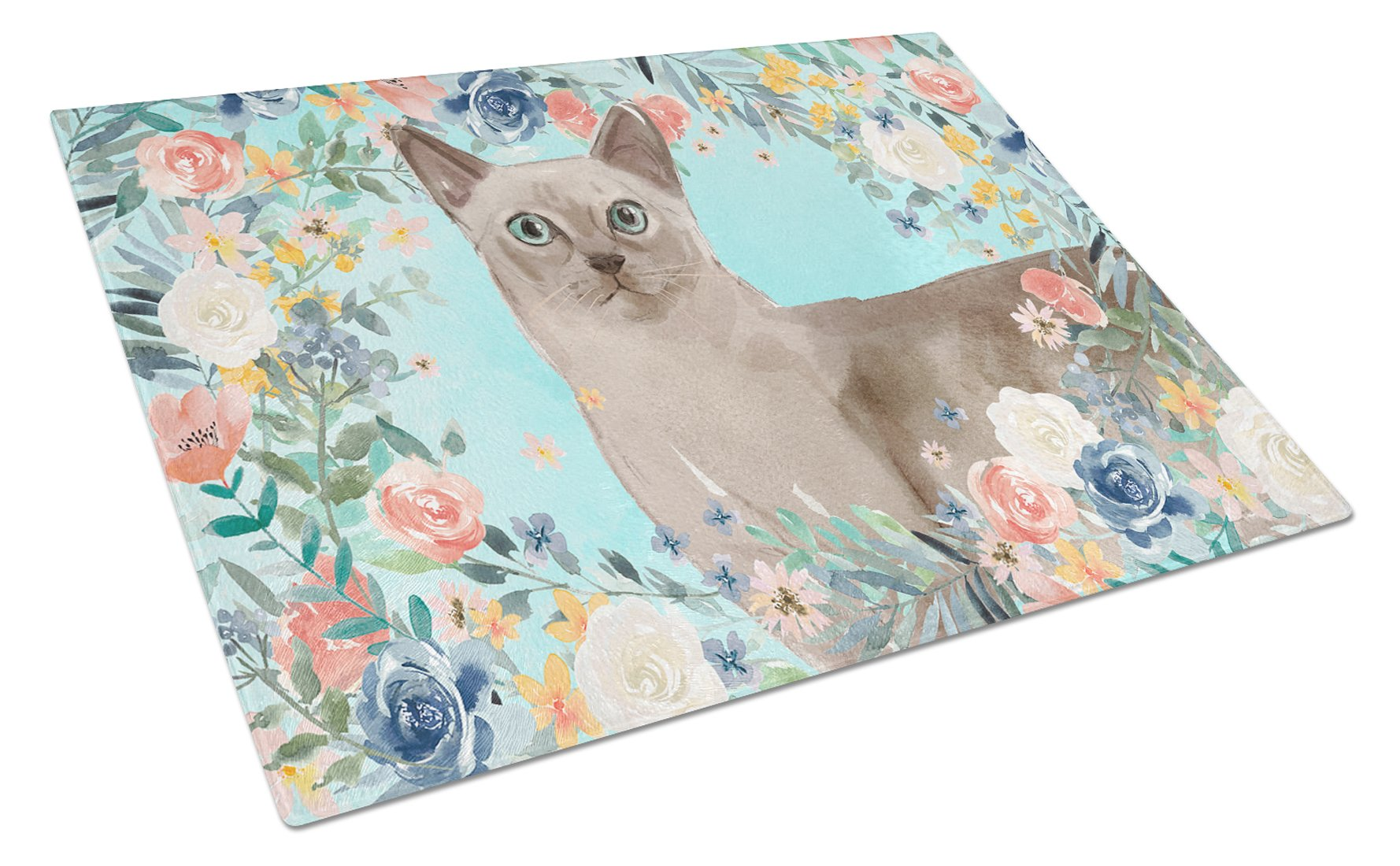Buy this Tonkinese Spring Flowers Glass Cutting Board Large CK3400LCB