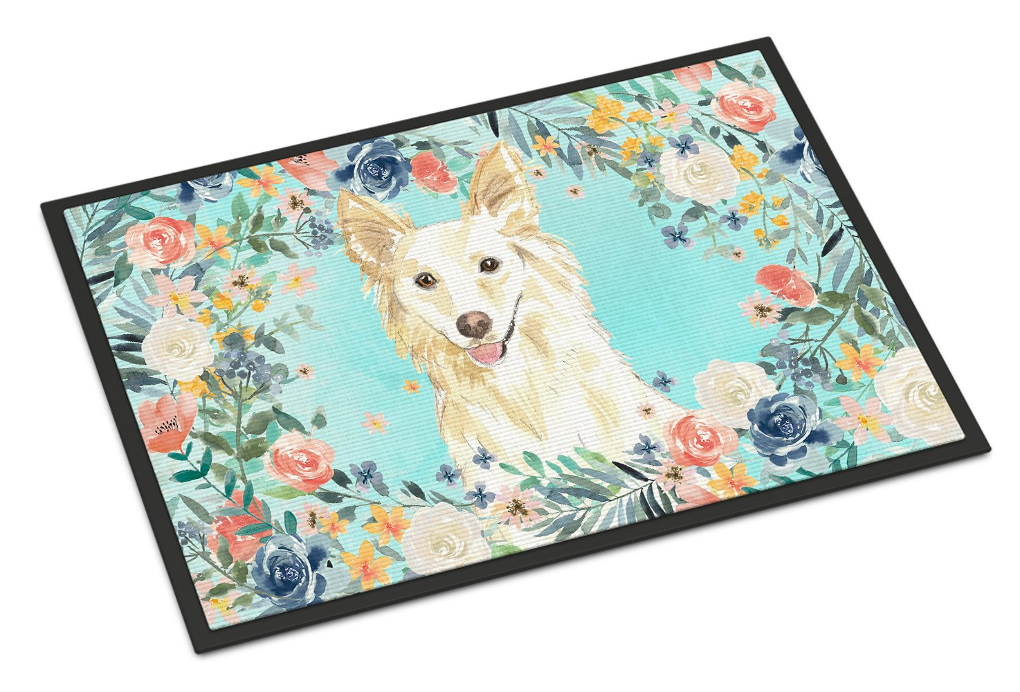 White Collie Indoor or Outdoor Mat 24x36 CK3403JMAT by Caroline's Treasures