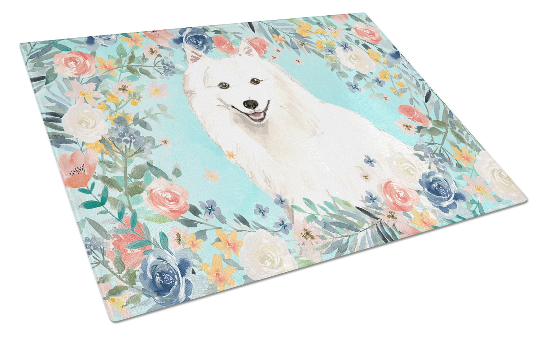 Japanese Spitz Glass Cutting Board Large CK3422LCB by Caroline's Treasures