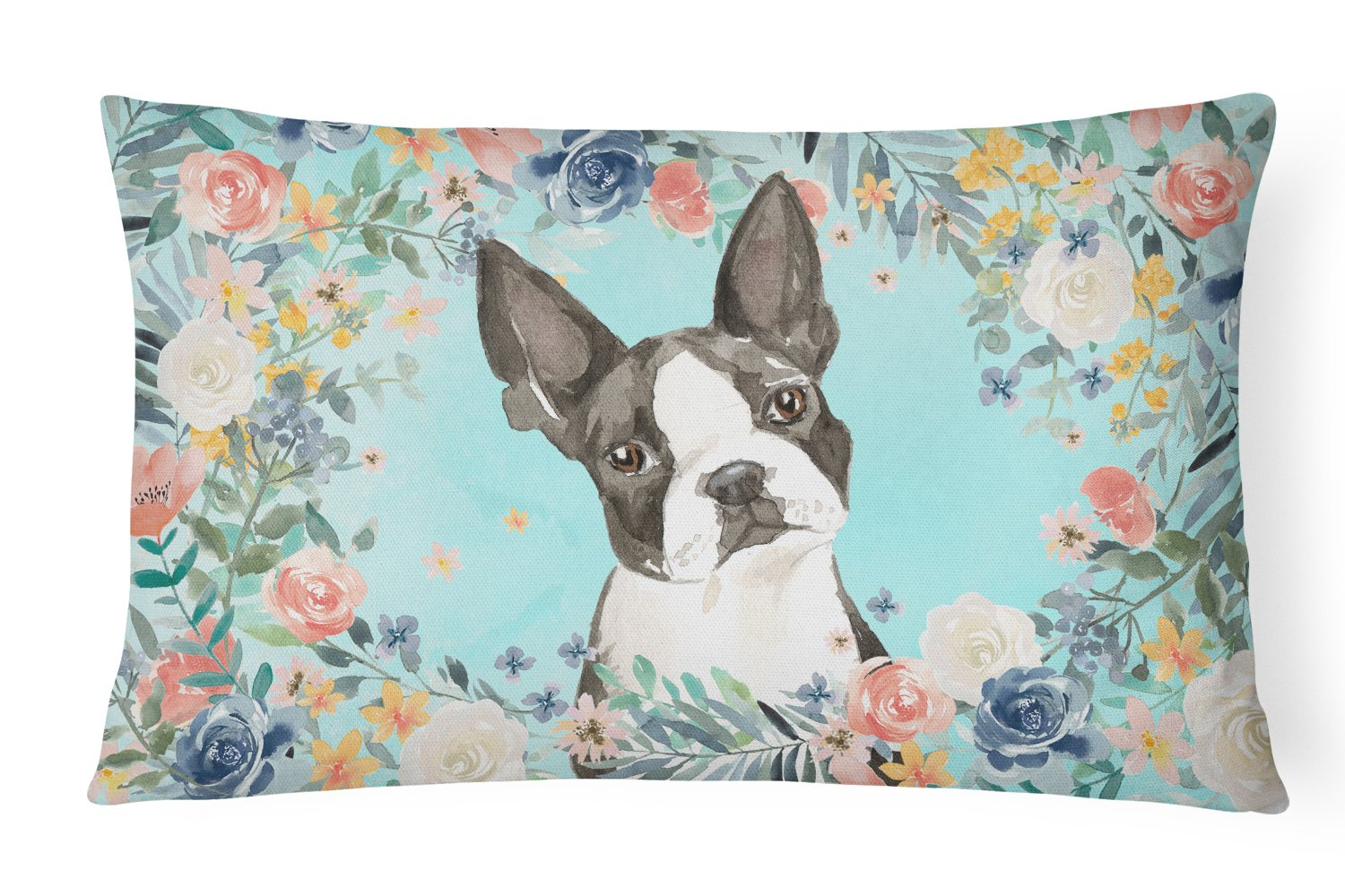 Buy this Boston Terrier Canvas Fabric Decorative Pillow CK3433PW1216