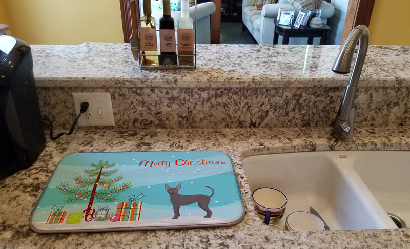 Buy this Abyssinian or African Hairless Dog Christmas Tree Dish Drying Mat CK3438DDM