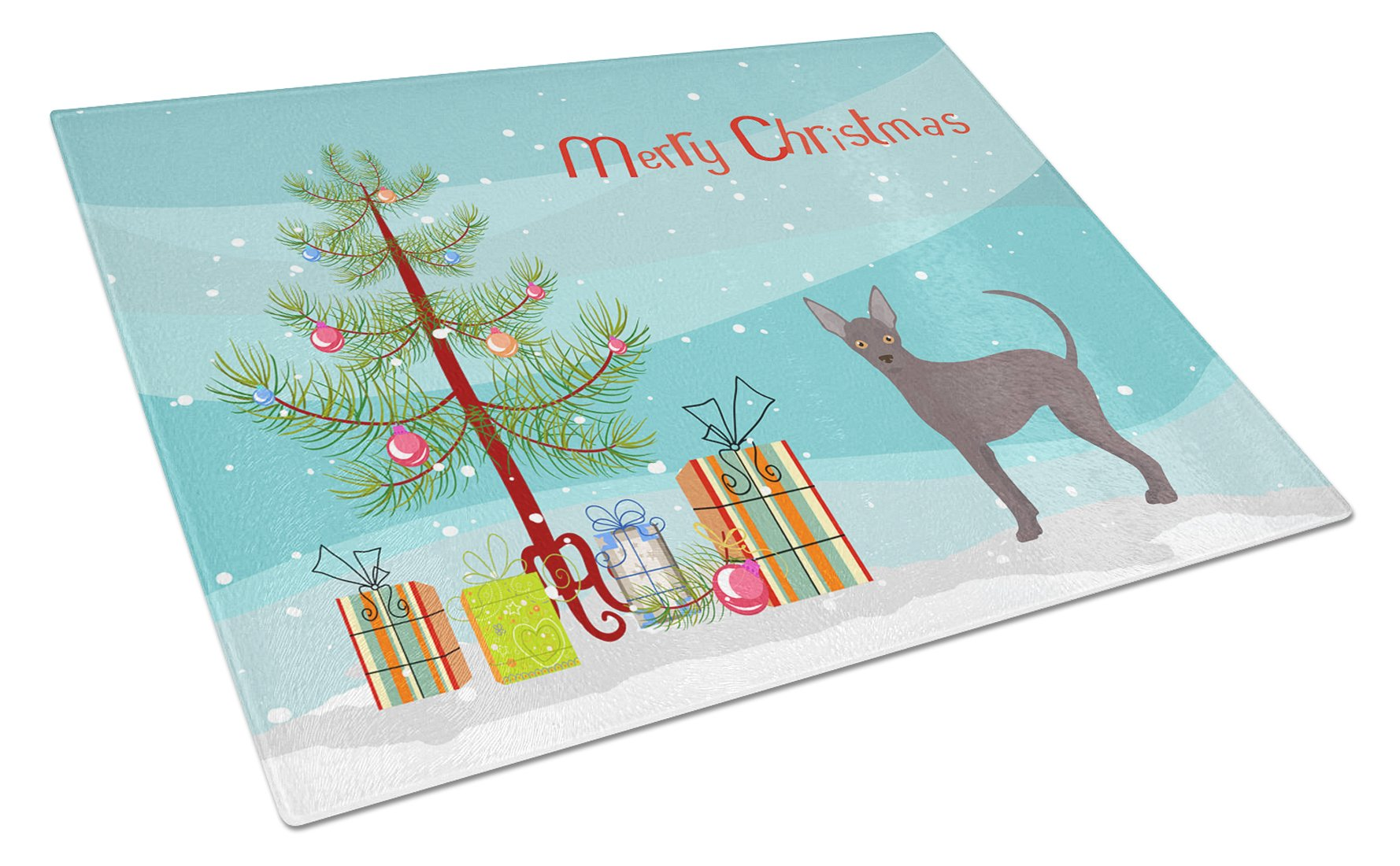 Buy this Abyssinian or African Hairless Dog Christmas Tree Glass Cutting Board Large CK3438LCB