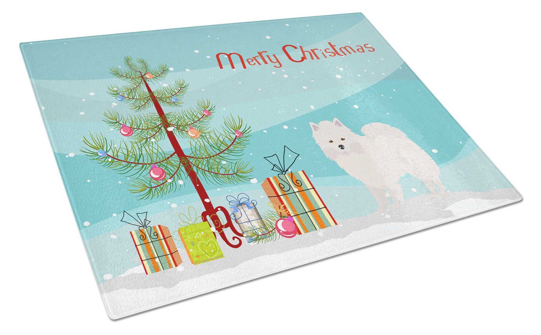 American Eskimo Christmas Tree Glass Cutting Board Large CK3441LCB by Caroline's Treasures