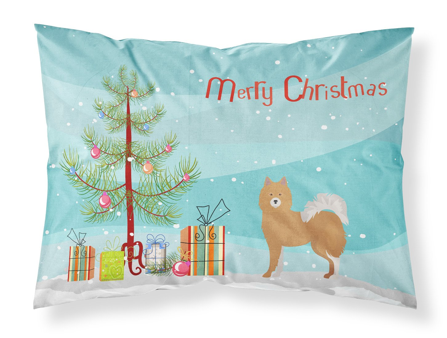 Brown & White Elo dog Christmas Tree Fabric Standard Pillowcase CK3451PILLOWCASE by Caroline's Treasures