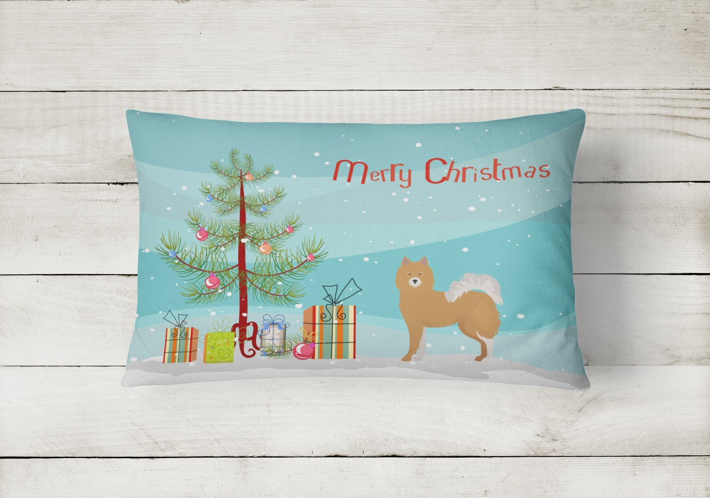 Brown & White Elo dog Christmas Tree Canvas Fabric Decorative Pillow CK3451PW1216 by Caroline's Treasures