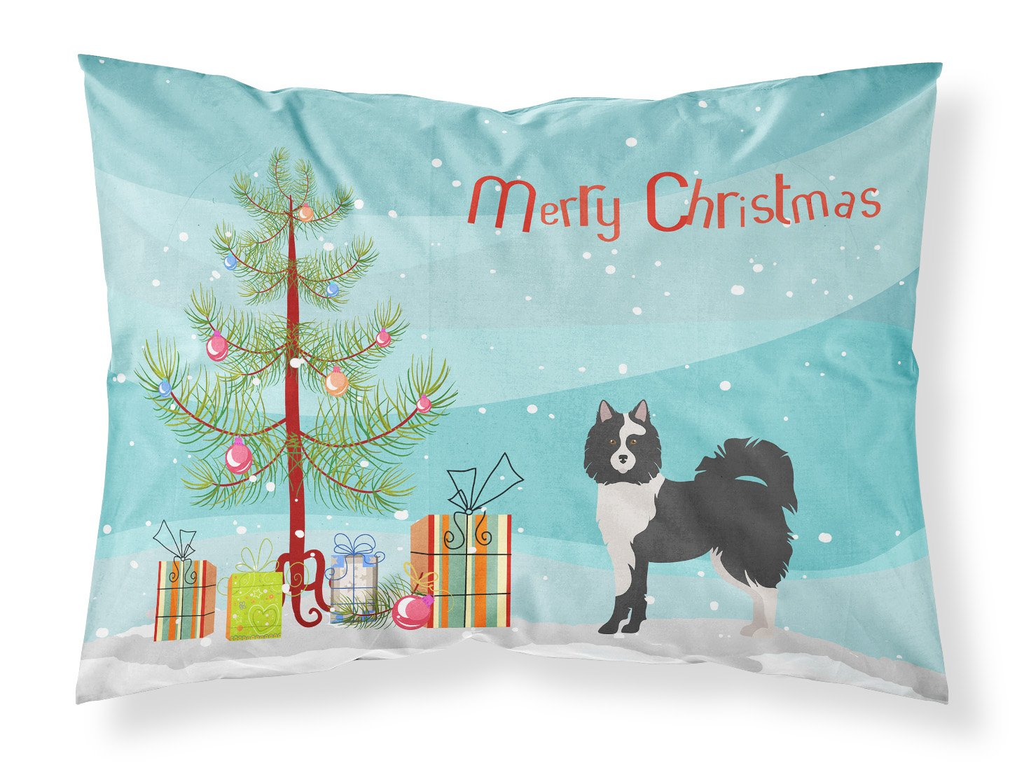 Black and White Elo dog Christmas Tree Fabric Standard Pillowcase CK3452PILLOWCASE by Caroline's Treasures
