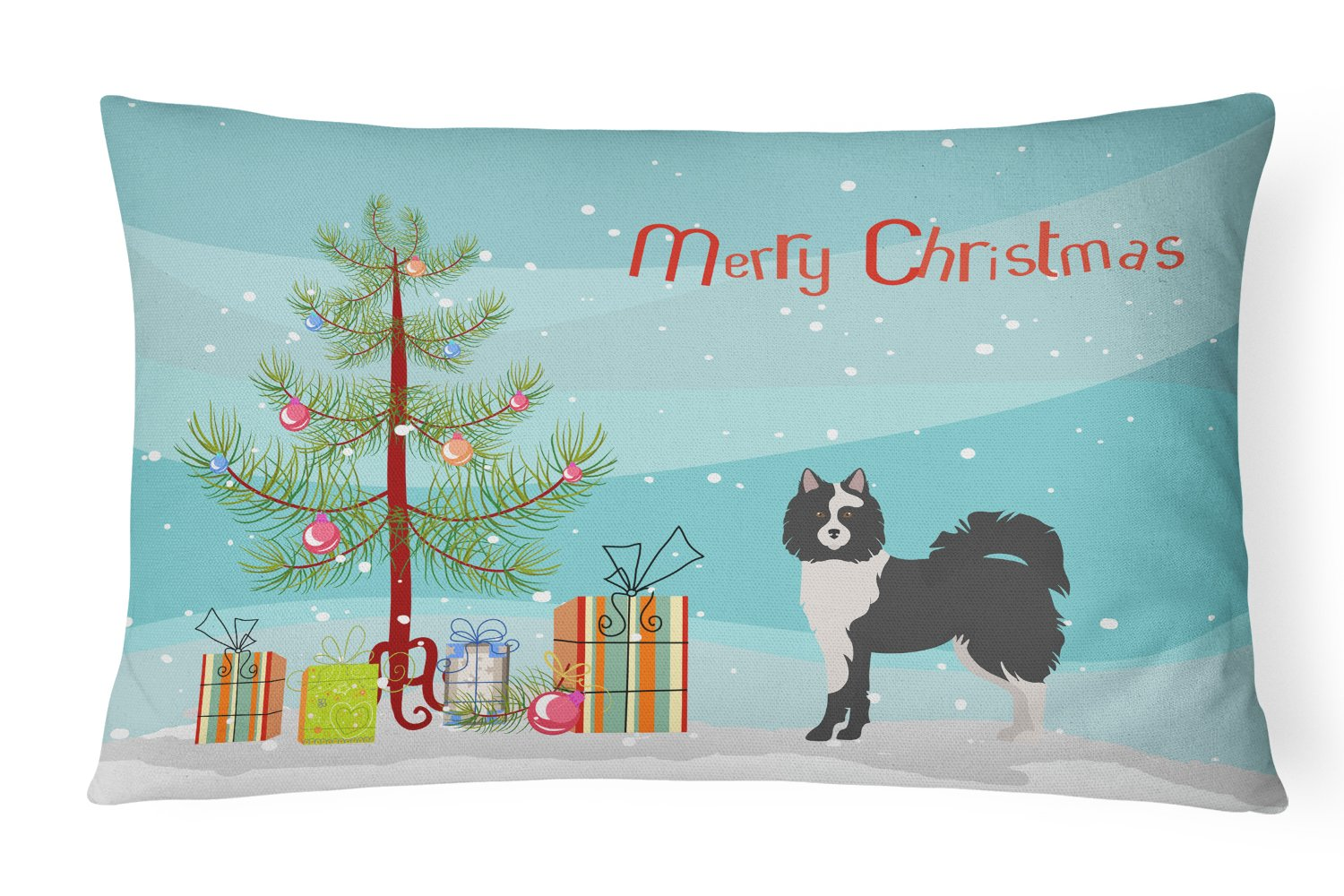 Black and White Elo dog Christmas Tree Canvas Fabric Decorative Pillow CK3452PW1216 by Caroline's Treasures