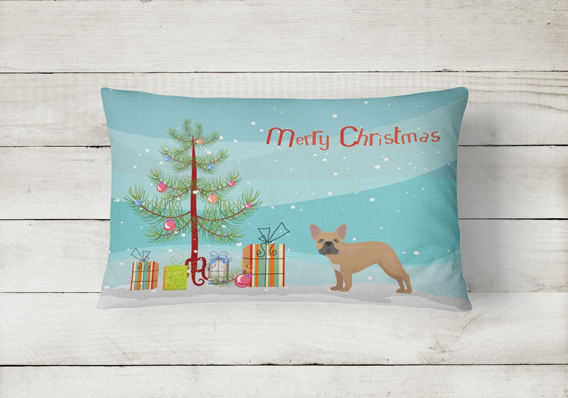 Buy this French Bulldog Christmas Tree Canvas Fabric Decorative Pillow CK3455PW1216