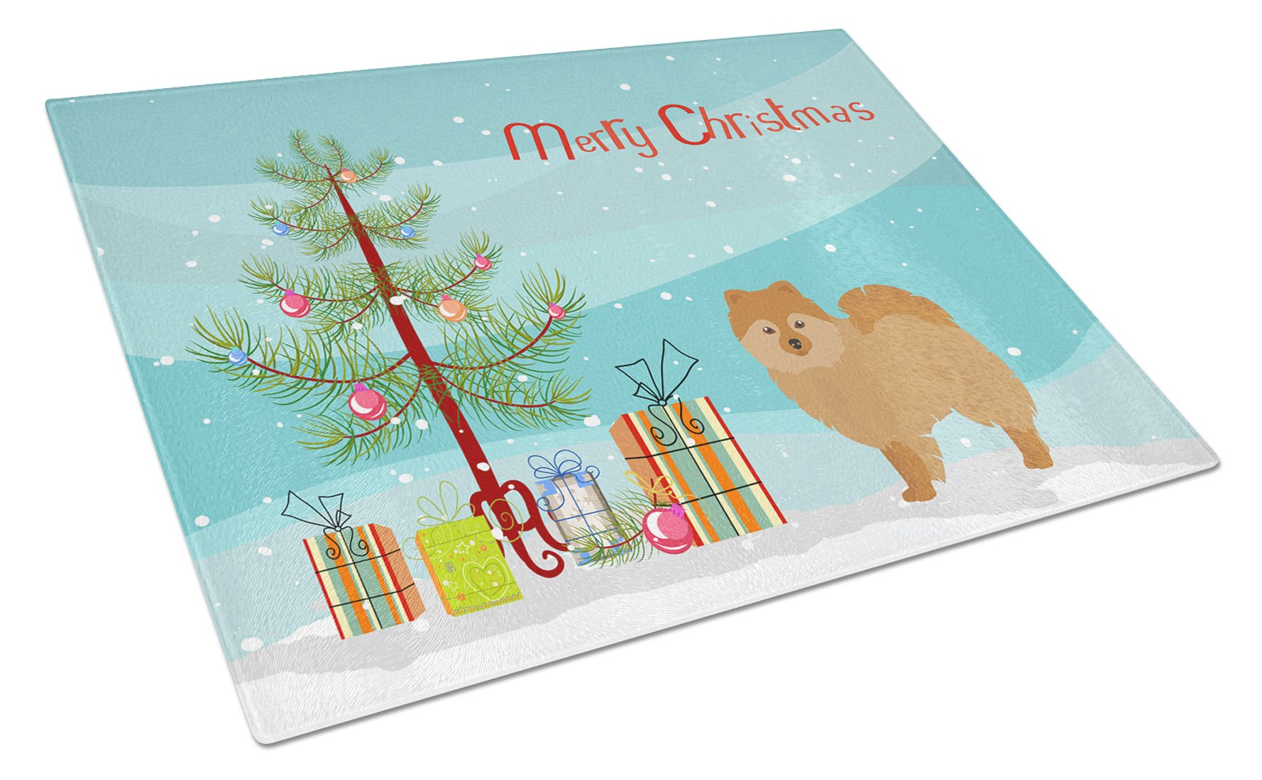 German Spitz Christmas Tree Glass Cutting Board Large CK3456LCB by Caroline's Treasures
