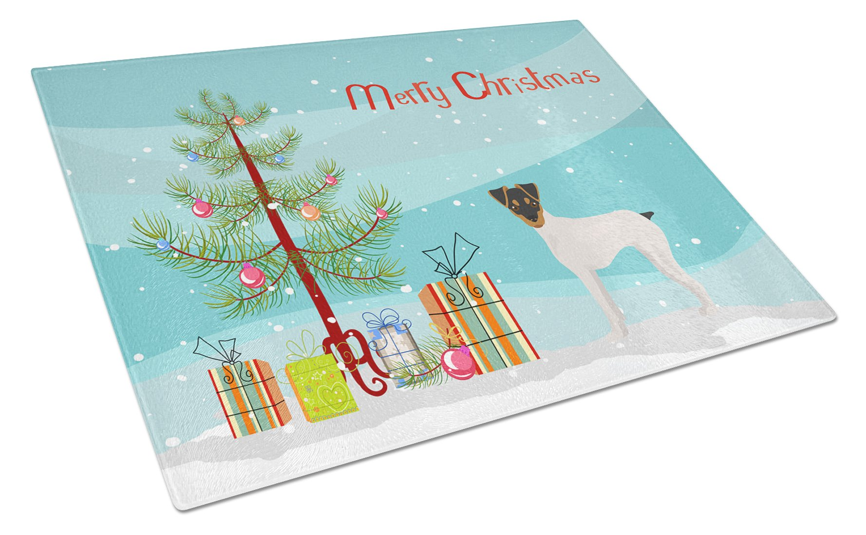 Japanese Terrier Christmas Tree Glass Cutting Board Large CK3464LCB by Caroline's Treasures