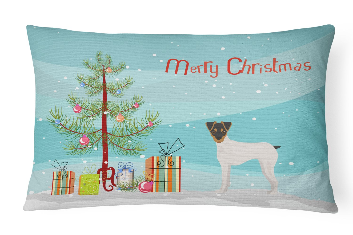 Japanese Terrier Christmas Tree Canvas Fabric Decorative Pillow CK3464PW1216 by Caroline's Treasures