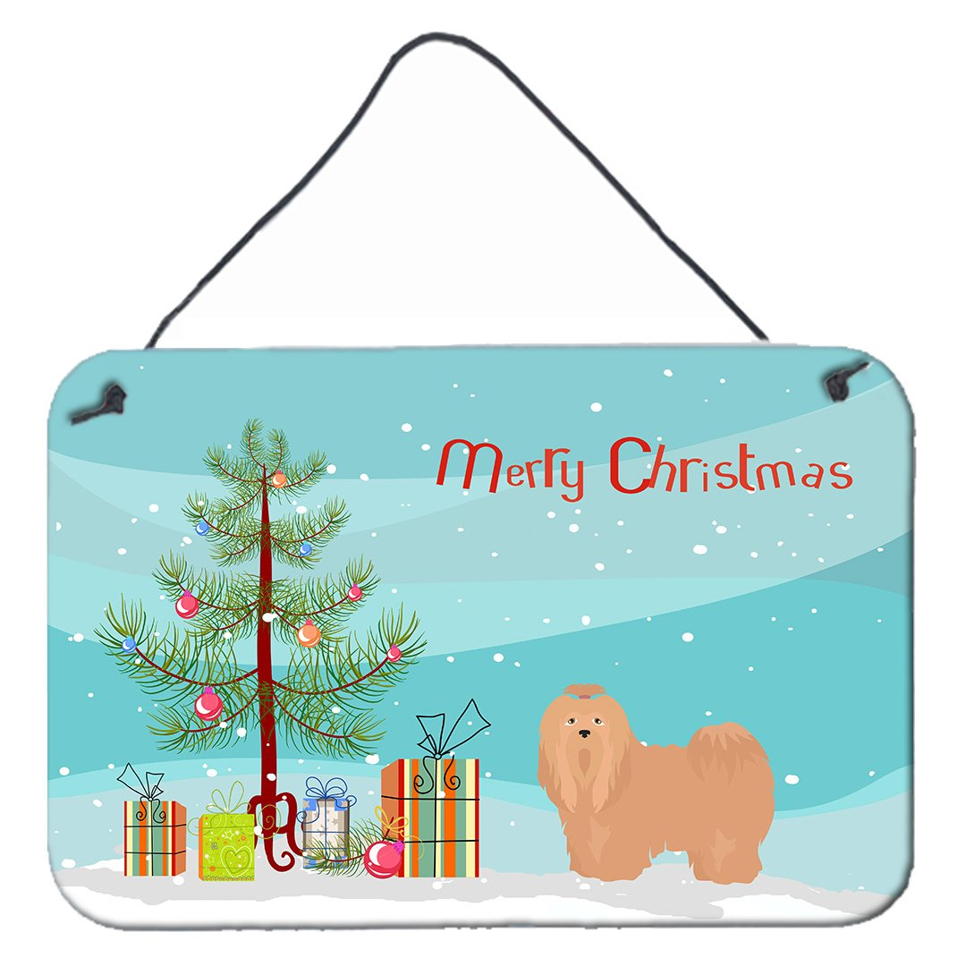 Buy this Tan Lhasa Apso Christmas Tree Wall or Door Hanging Prints CK3468DS812