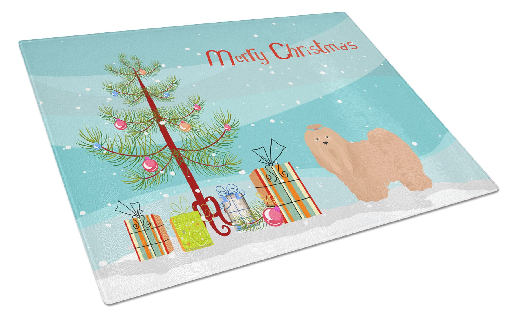 Buy this Tan Lhasa Apso Christmas Tree Glass Cutting Board Large CK3468LCB