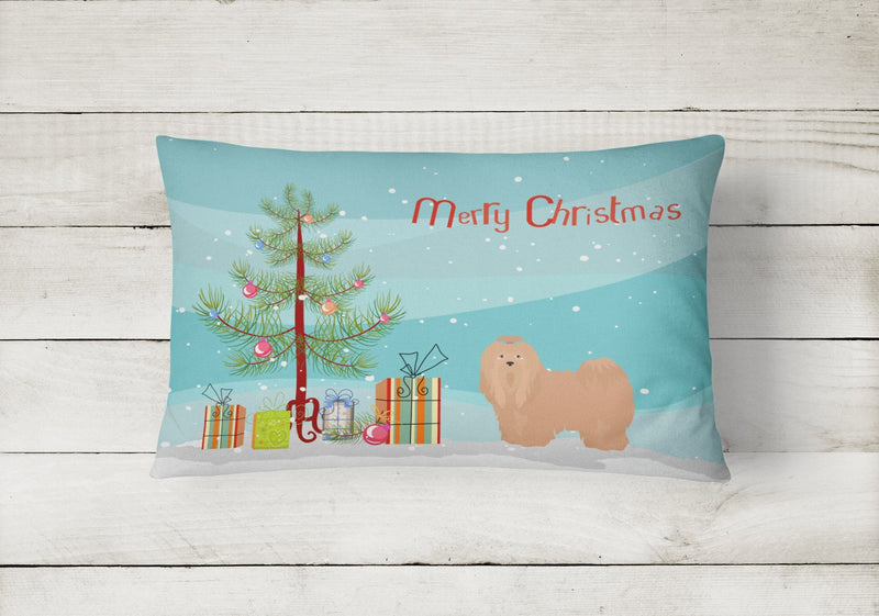 Buy this Tan Lhasa Apso Christmas Tree Canvas Fabric Decorative Pillow CK3468PW1216