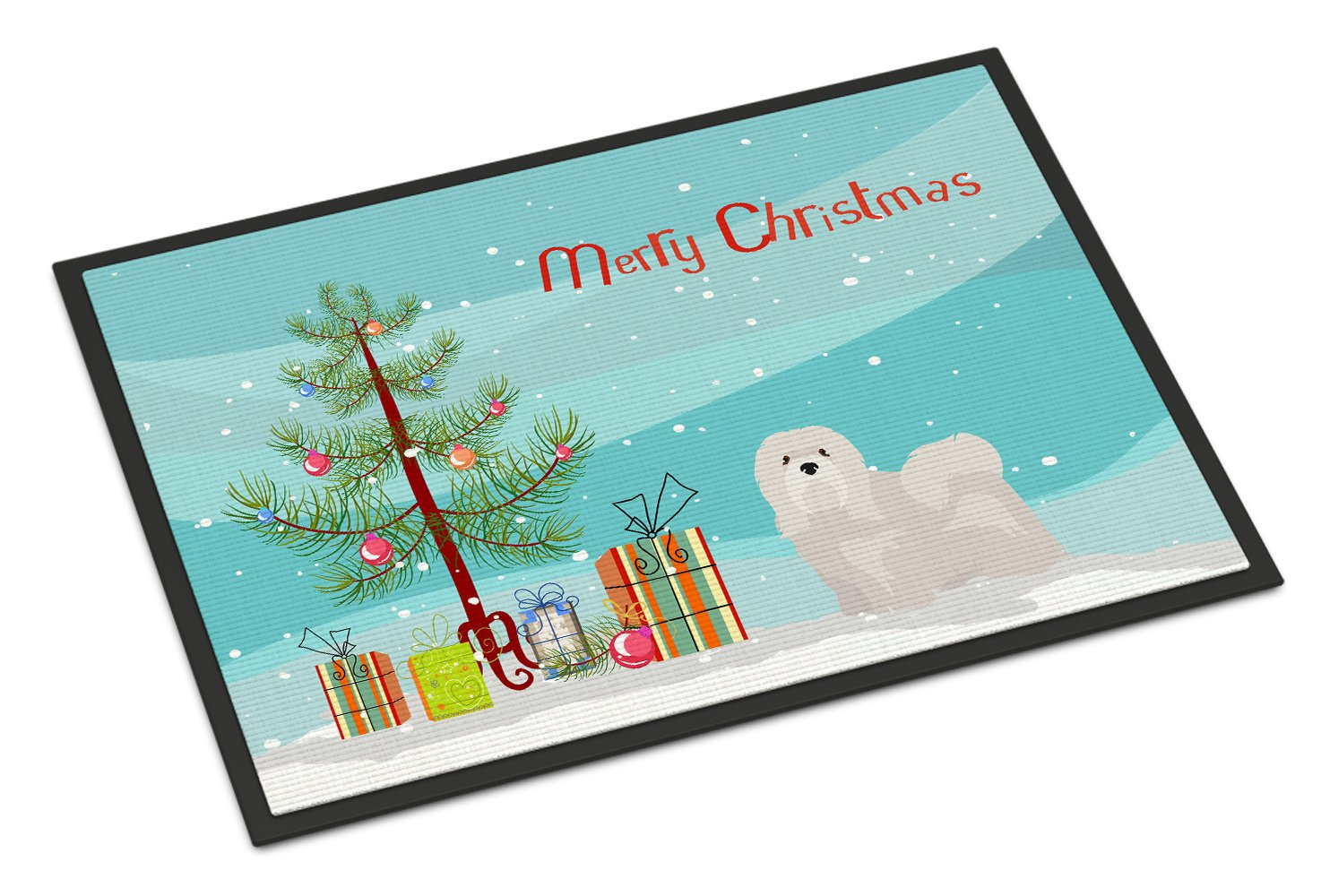 Buy this White Lhasa Apso Christmas Tree Indoor or Outdoor Mat 24x36 CK3469JMAT