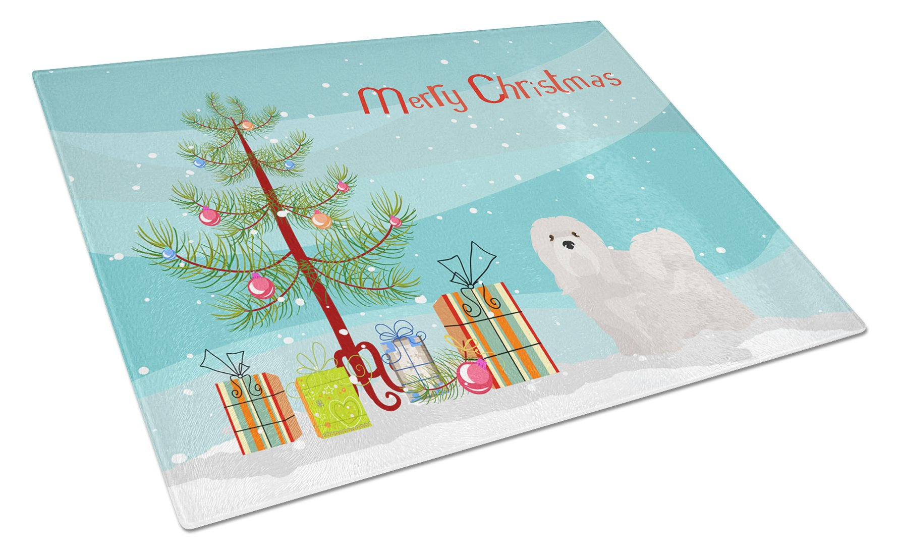 Buy this White Lhasa Apso Christmas Tree Glass Cutting Board Large CK3469LCB