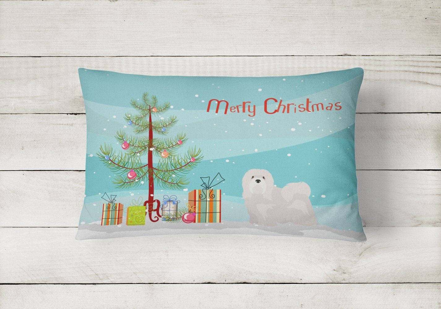 White Lhasa Apso Christmas Tree Canvas Fabric Decorative Pillow CK3469PW1216 by Caroline's Treasures