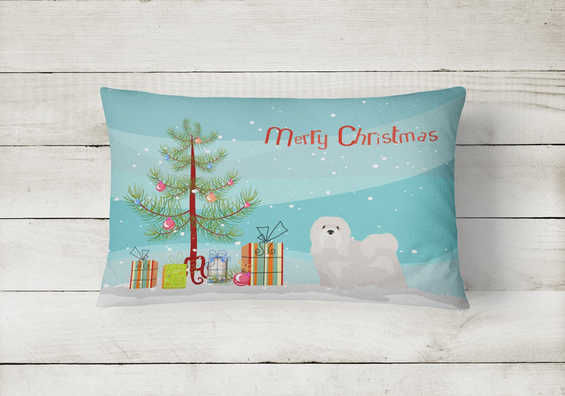 Buy this White Lhasa Apso Christmas Tree Canvas Fabric Decorative Pillow CK3469PW1216