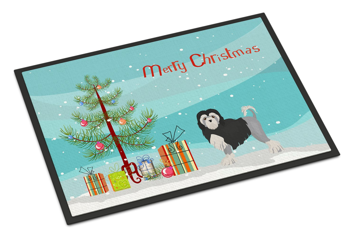 Buy this Löwchen or Little Lion Dog Christmas Tree Indoor or Outdoor Mat 24x36 CK3470JMAT