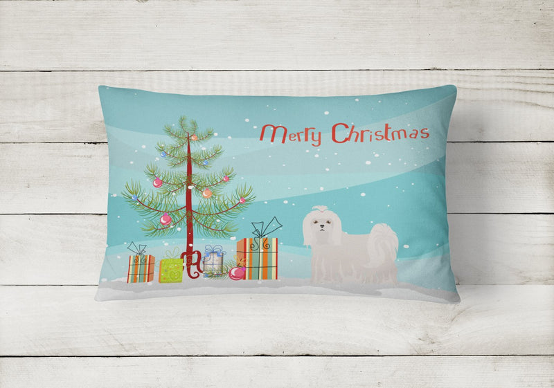 Buy this Maltese Christmas Tree Canvas Fabric Decorative Pillow CK3471PW1216
