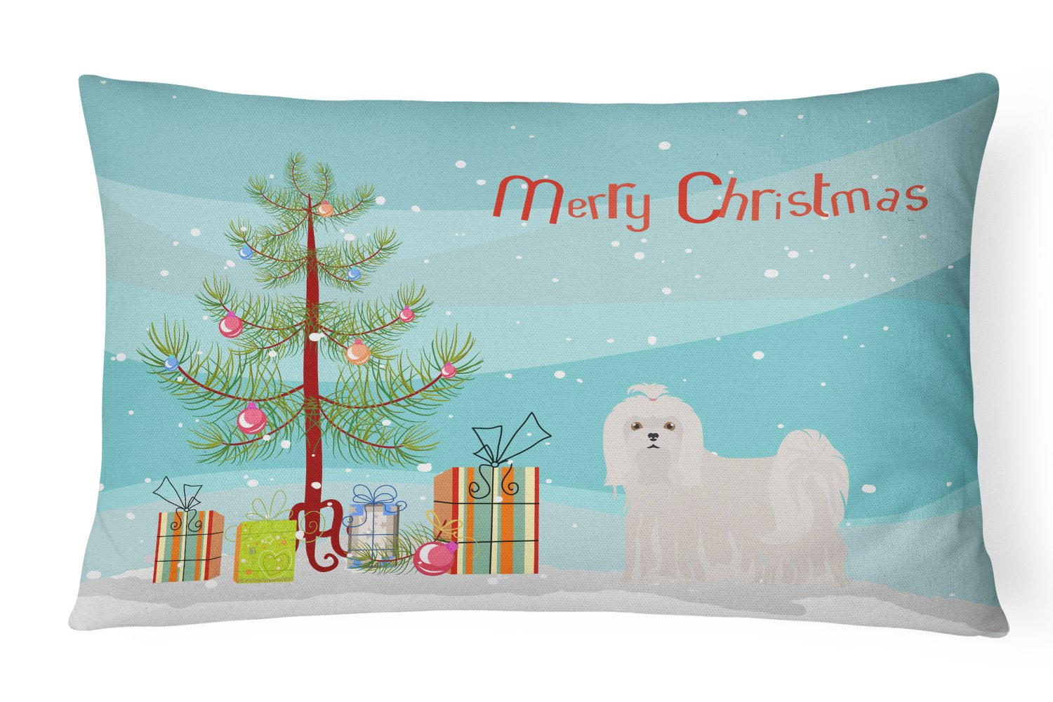 Maltese Christmas Tree Canvas Fabric Decorative Pillow CK3471PW1216 by Caroline's Treasures
