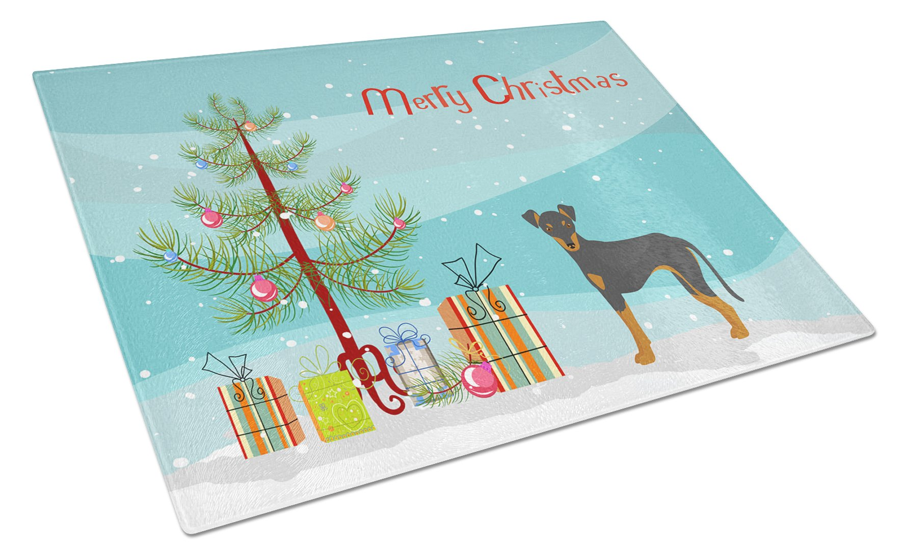Manchester Terrier Christmas Tree Glass Cutting Board Large CK3472LCB by Caroline's Treasures