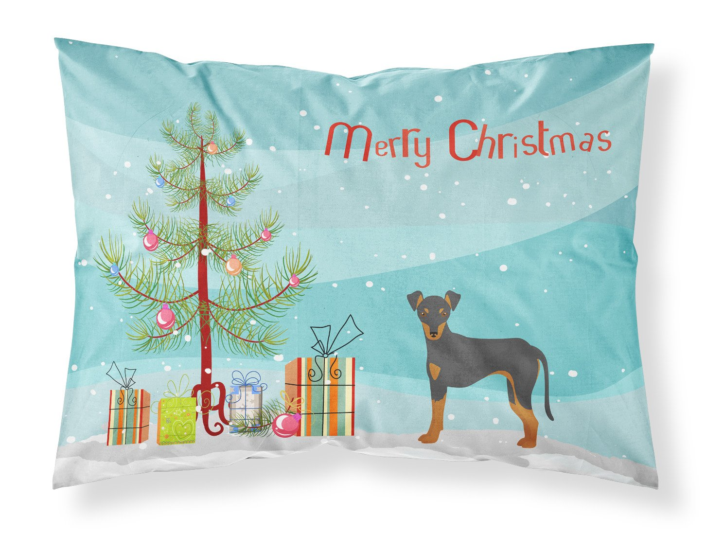 Manchester Terrier Christmas Tree Fabric Standard Pillowcase CK3472PILLOWCASE by Caroline's Treasures