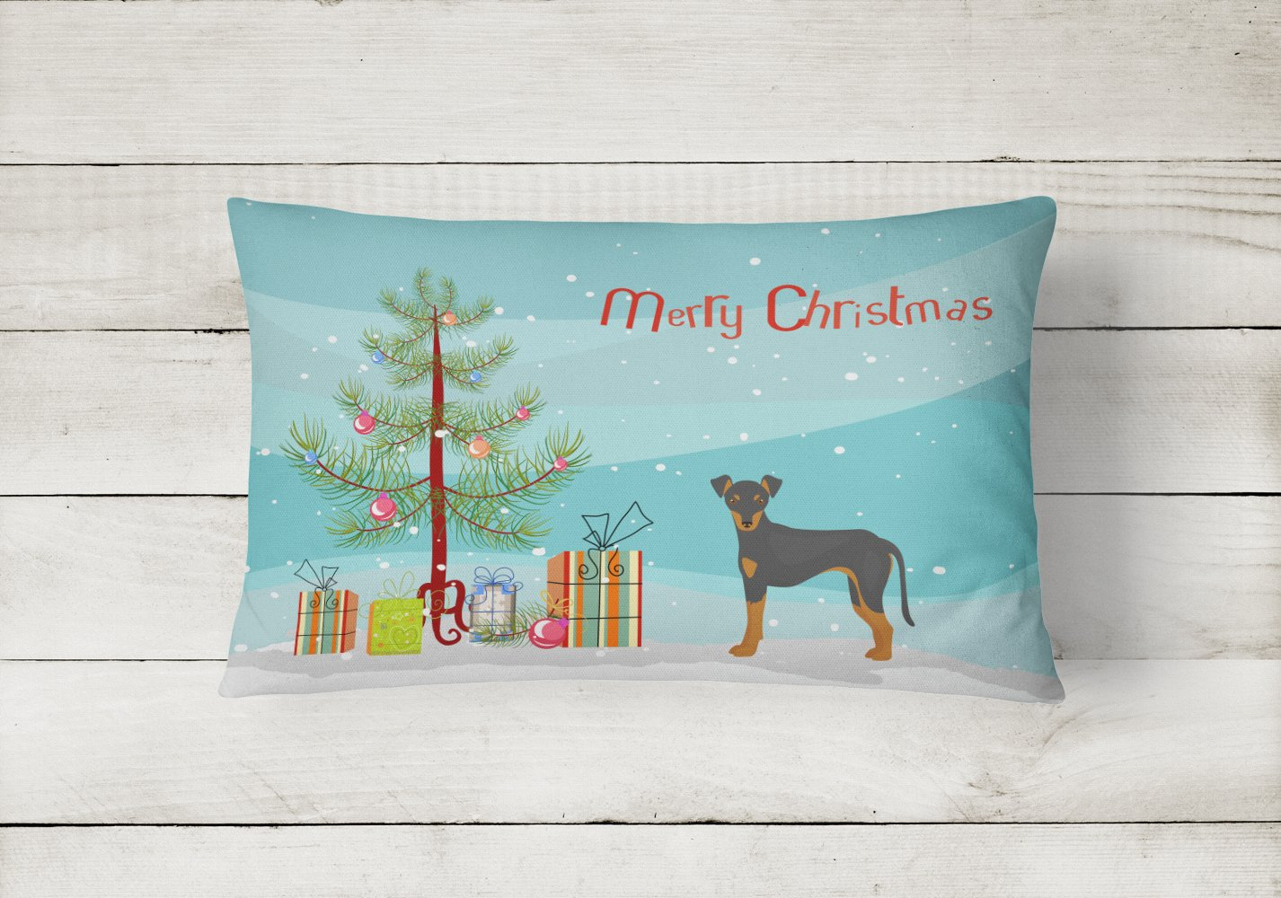 Manchester Terrier Christmas Tree Canvas Fabric Decorative Pillow CK3472PW1216 by Caroline's Treasures
