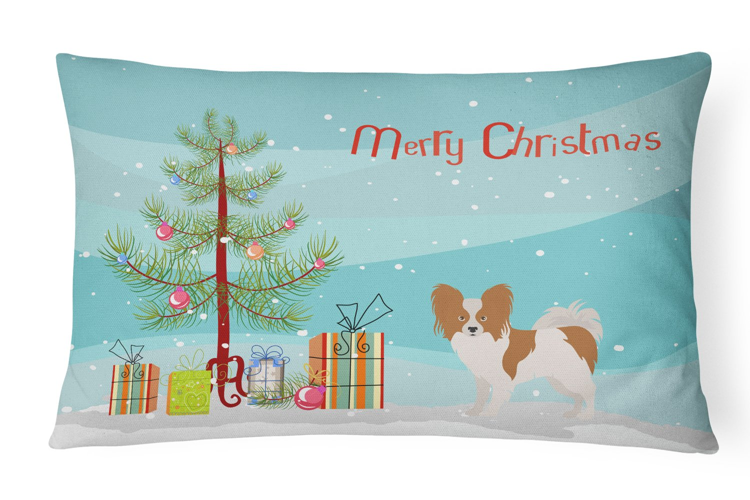 Papillon Christmas Tree Canvas Fabric Decorative Pillow CK3476PW1216 by Caroline's Treasures