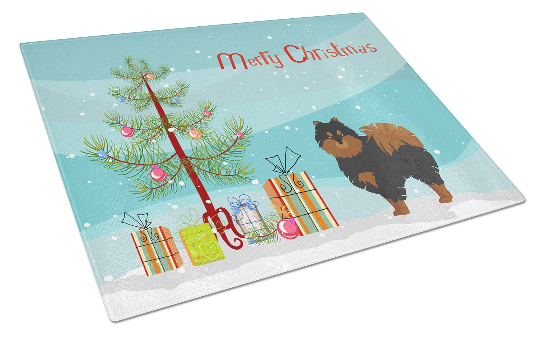 Buy this Pomeranian Christmas Tree Glass Cutting Board Large CK3477LCB