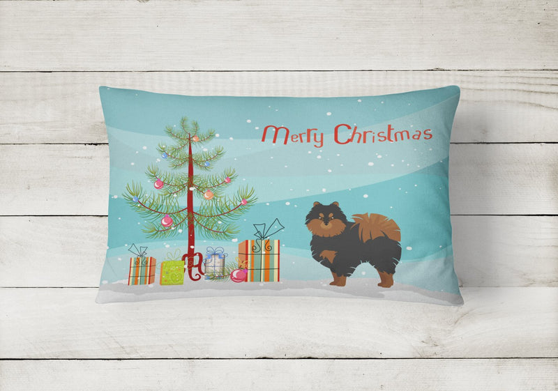Buy this Pomeranian Christmas Tree Canvas Fabric Decorative Pillow CK3477PW1216