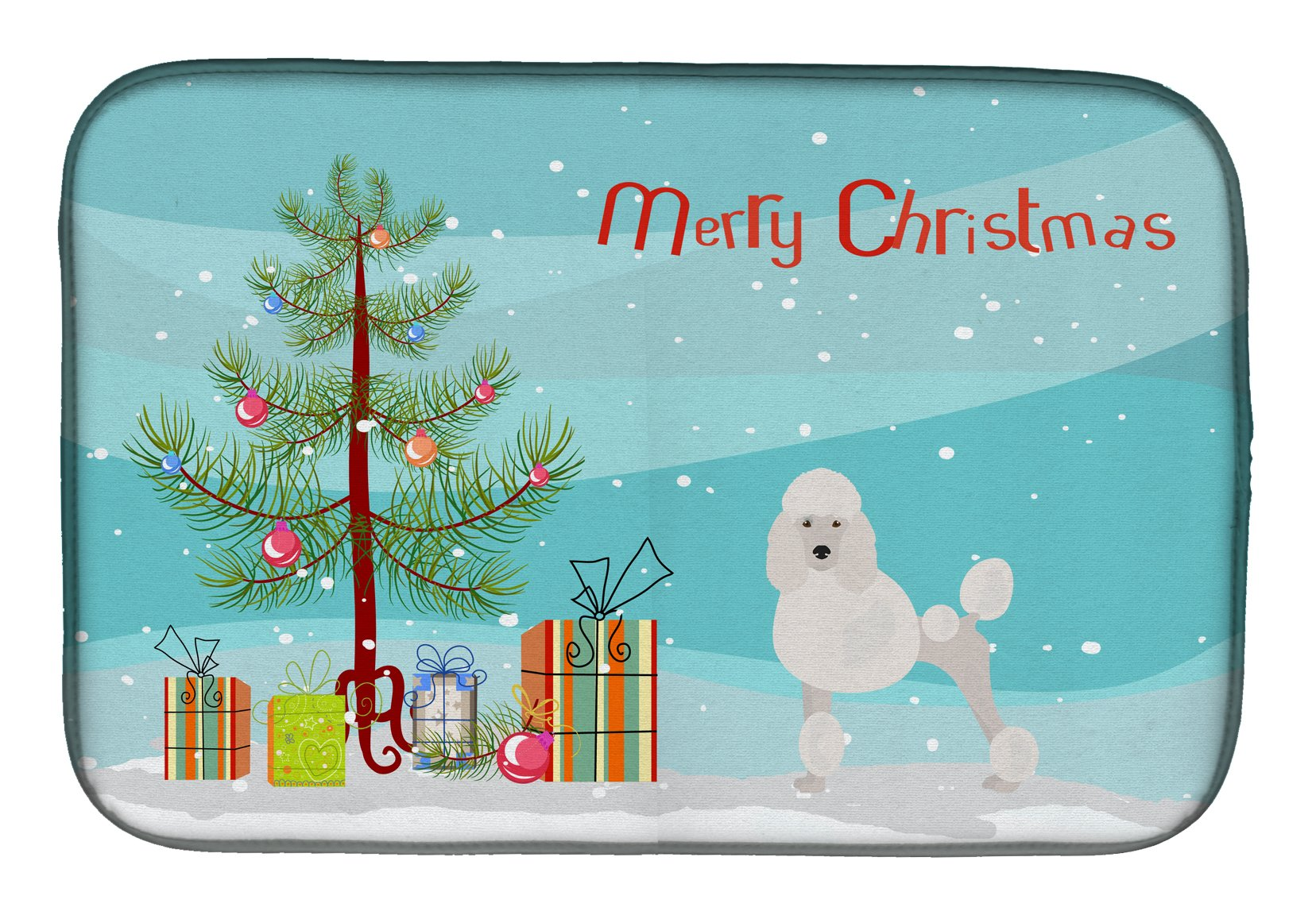 Buy this Miniature Poodle Christmas Tree Dish Drying Mat CK3478DDM