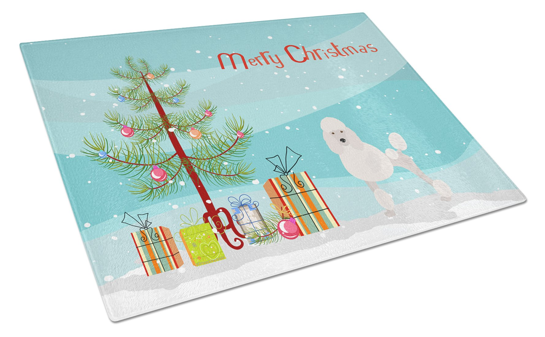 Buy this Miniature Poodle Christmas Tree Glass Cutting Board Large CK3478LCB