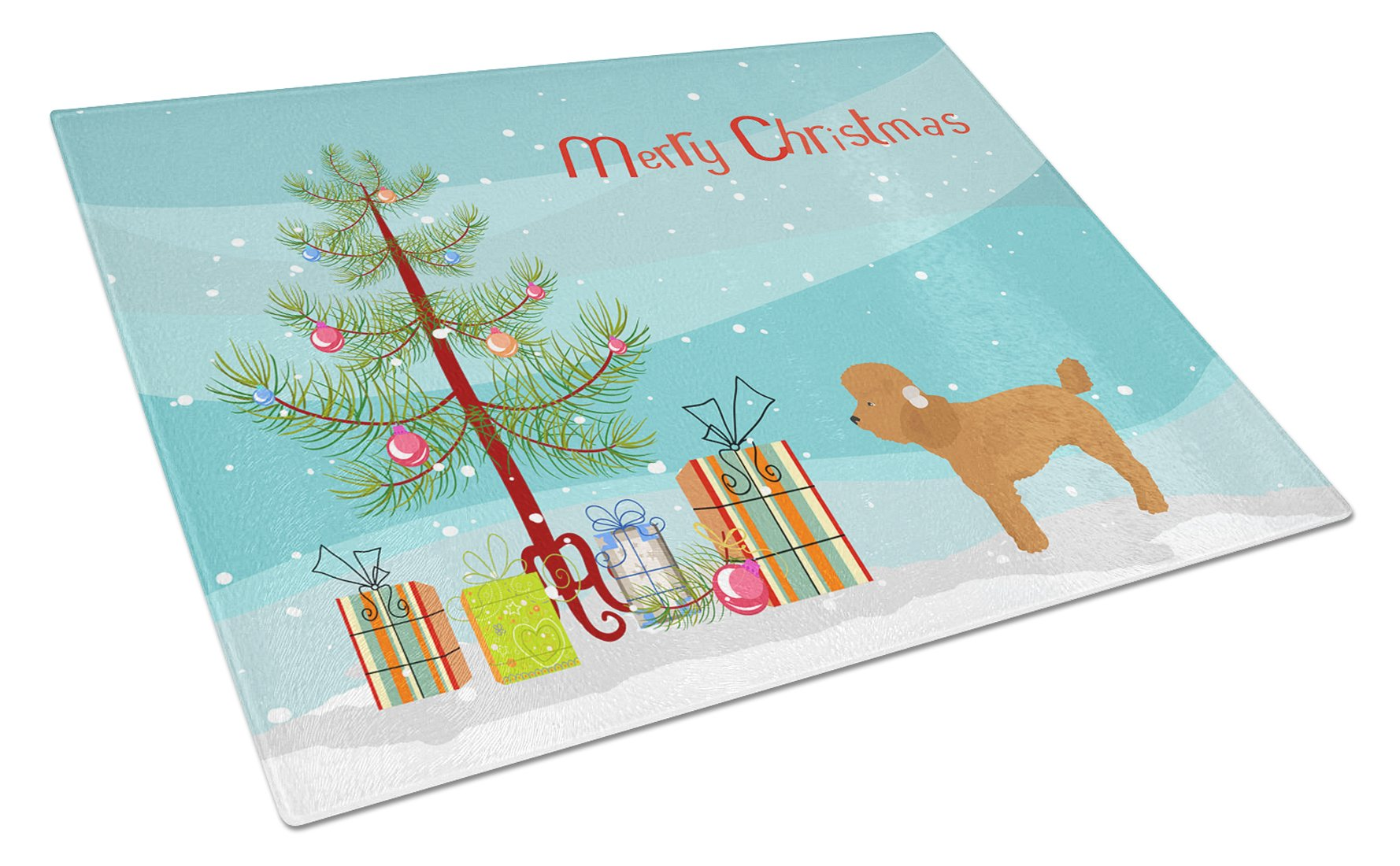 Buy this Toy Poodle Christmas Tree Glass Cutting Board Large CK3479LCB