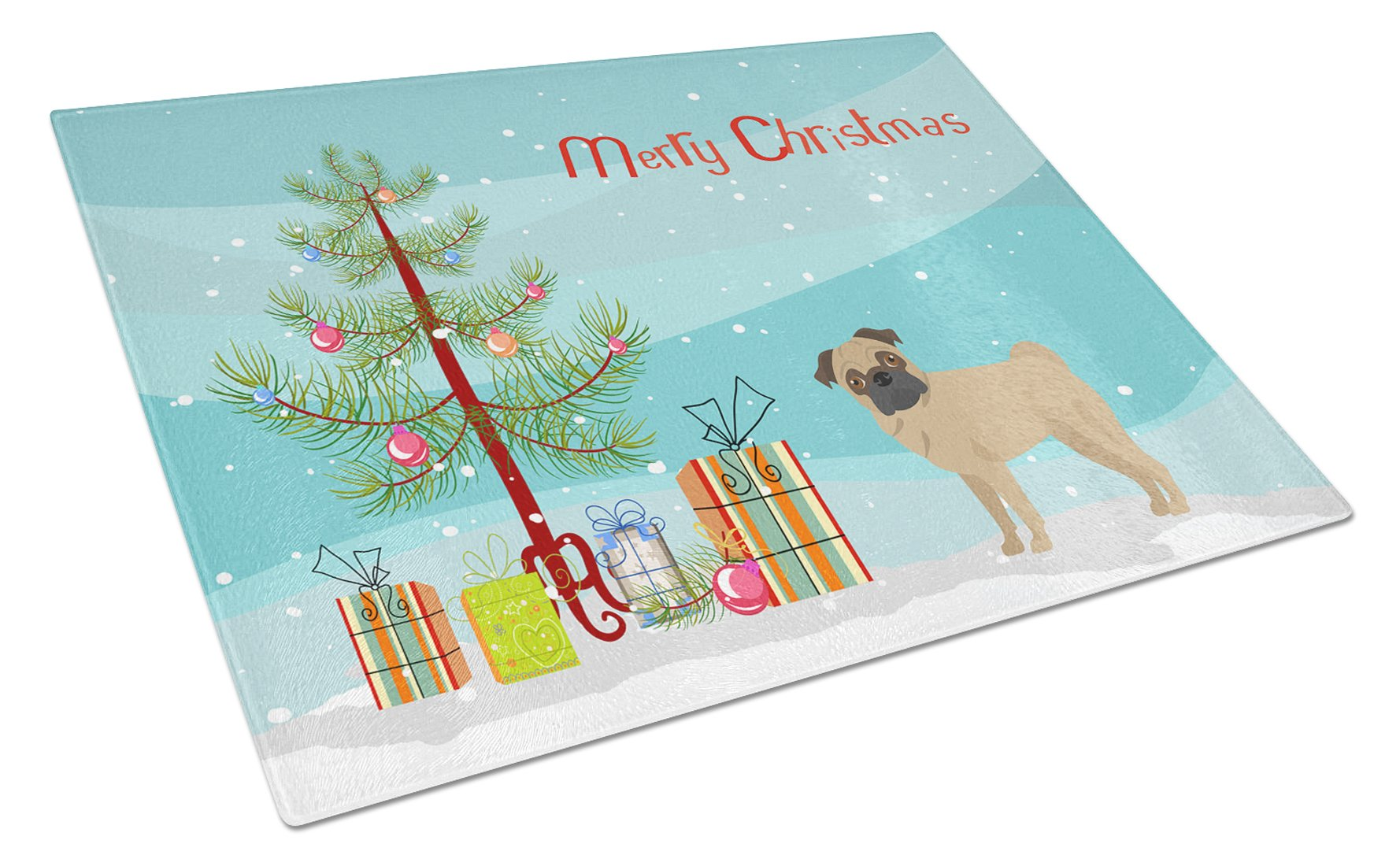 Buy this Pug Christmas Tree Glass Cutting Board Large CK3481LCB