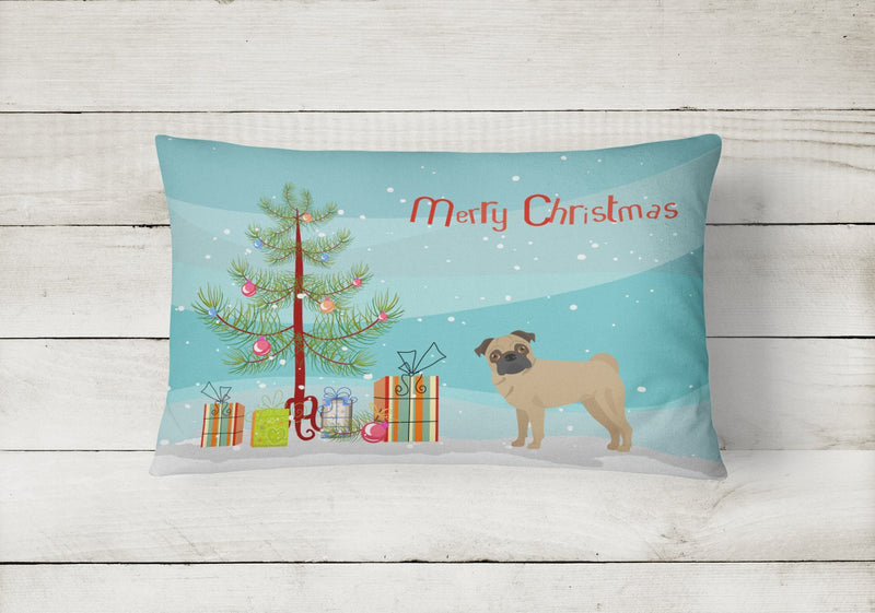 Buy this Pug Christmas Tree Canvas Fabric Decorative Pillow CK3481PW1216