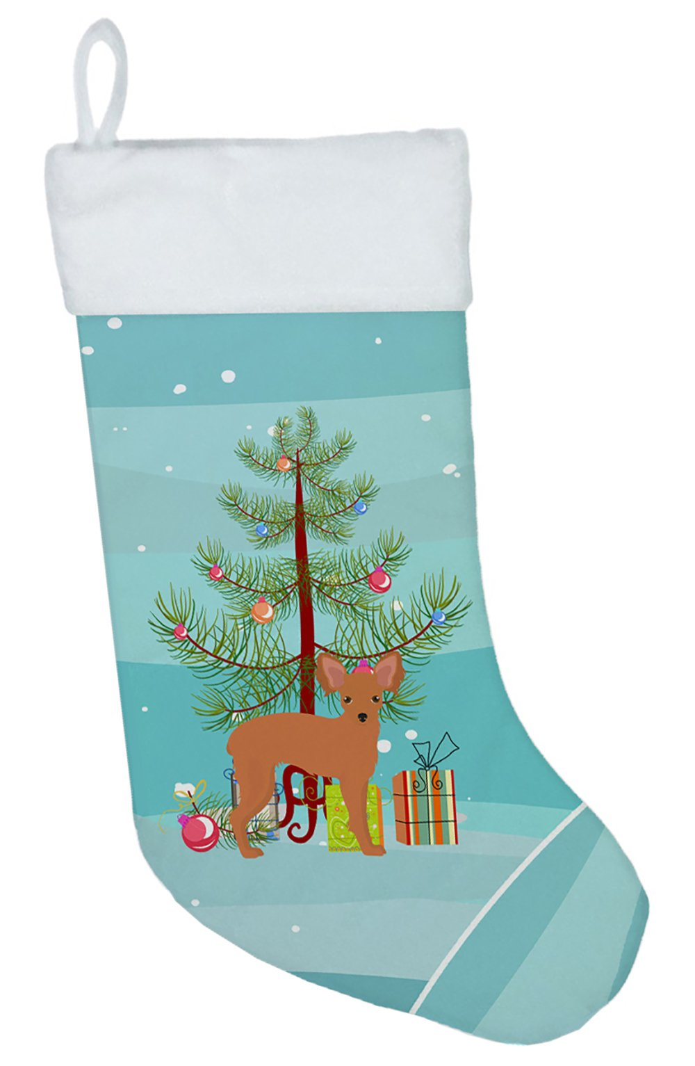 Russkiy Toy or Russian Toy Terrier Christmas Tree Christmas Stocking CK3484CS by Caroline's Treasures