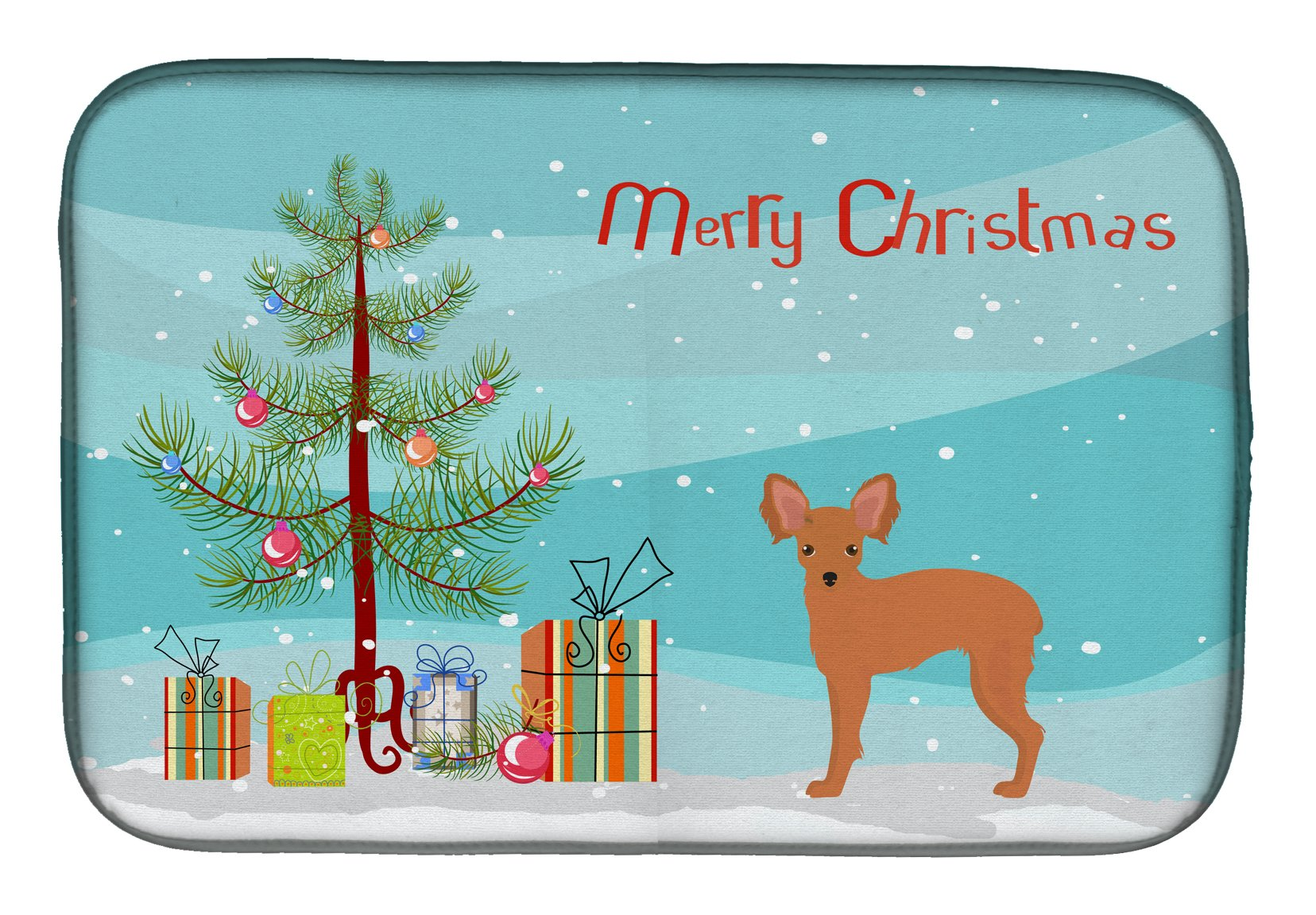 Russkiy Toy or Russian Toy Terrier Christmas Tree Dish Drying Mat CK3484DDM by Caroline's Treasures