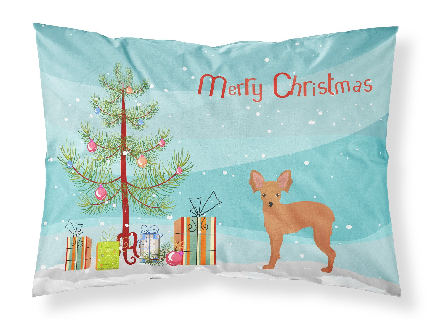 Russkiy Toy or Russian Toy Terrier Christmas Tree Fabric Standard Pillowcase CK3484PILLOWCASE by Caroline's Treasures