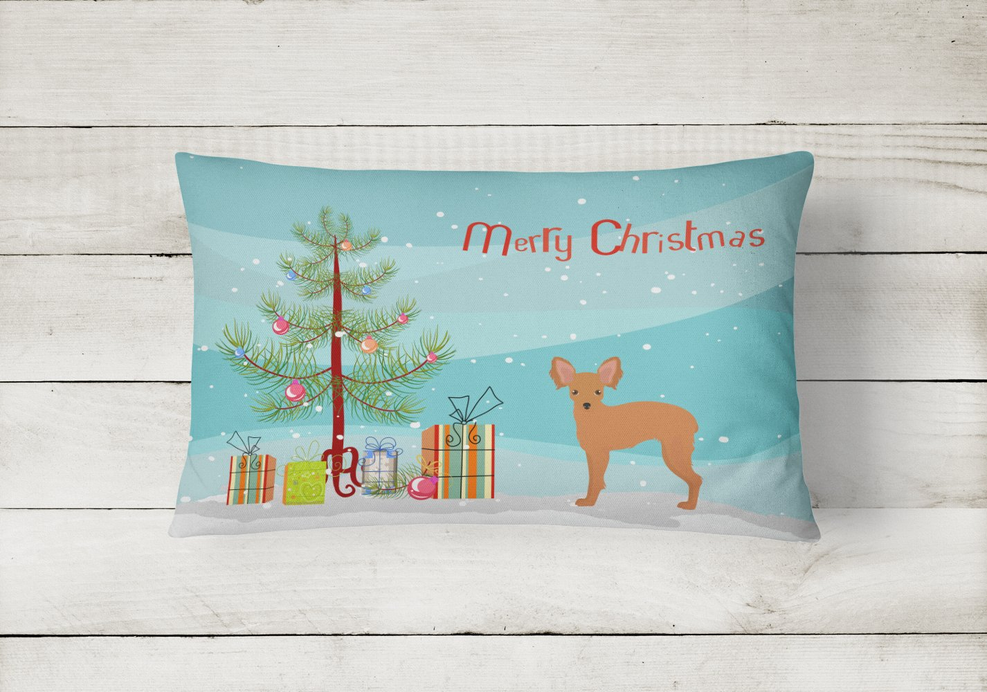 Russkiy Toy or Russian Toy Terrier Christmas Tree Canvas Fabric Decorative Pillow CK3484PW1216 by Caroline's Treasures