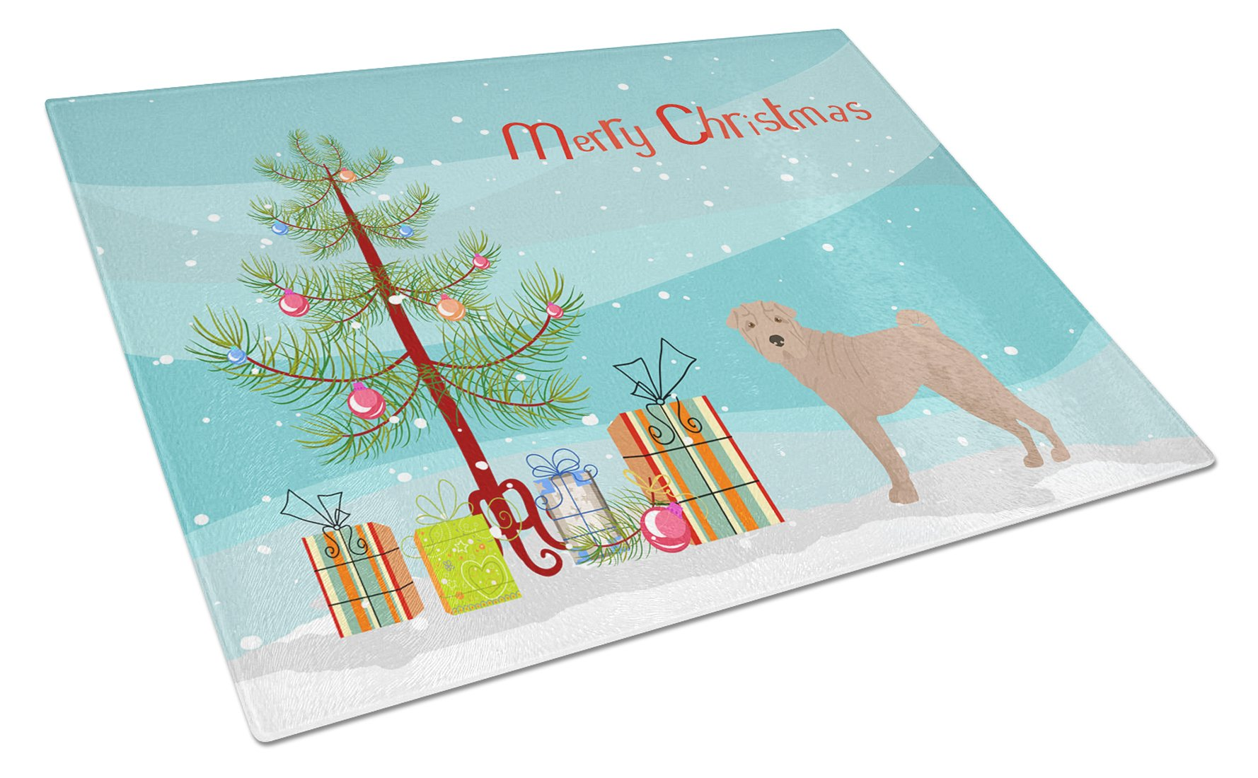 Buy this Shar Pei Christmas Tree Glass Cutting Board Large CK3485LCB